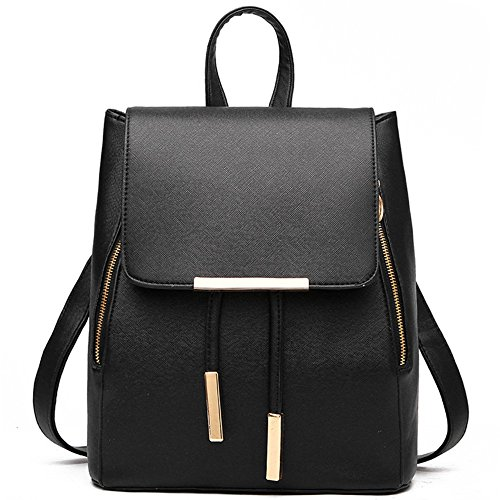 Fashion PU Leather Backpack Shoulder Bag Rucksack Travel Bag Black