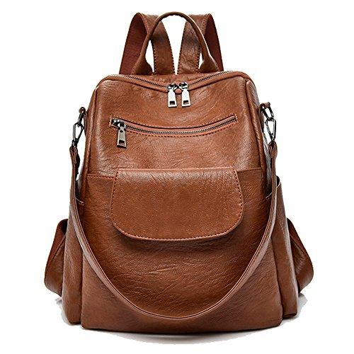 Women fashion brown washed pu leather designer backpack