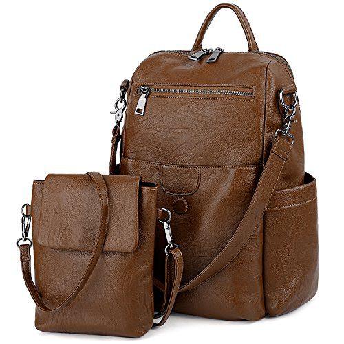 UTO Women Backpack Purse PU Washed Leather Ladies Rucksack