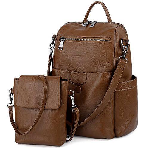 UTO Women Backpack Purse PU Washed Leather Ladies Rucksack