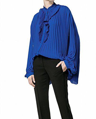 Balenciaga Women's 40 US Button Down Pleated Blouse Blue 4