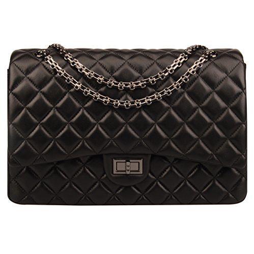 Ainifeel Women's Quilted Oversize Genuine Leather Shoulder Handbag