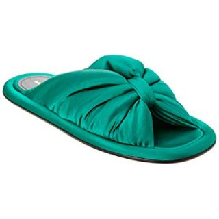 Balenciaga Satin Slide Sandal, 38.5, Green