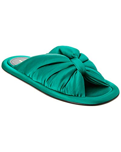 Balenciaga Satin Slide Sandal, 38.5, Green