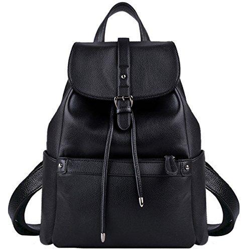 Leather Backpack, COOFIT Black Backpack Black Leather