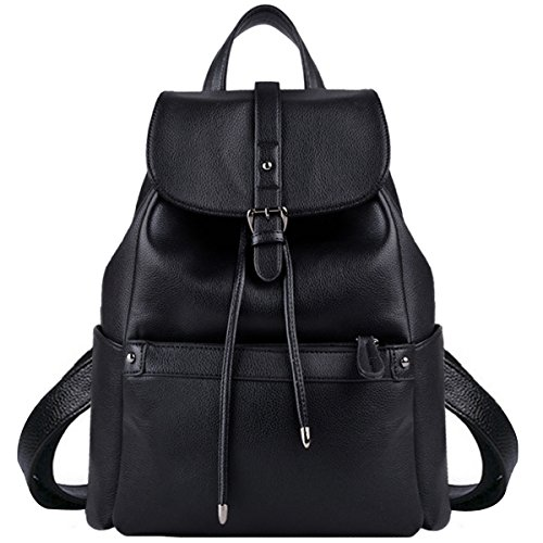 Leather Backpack, COOFIT Black Backpack Black Leather