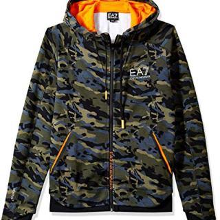Emporio Armani EA7 Men's Ventus7 Full Zip Graphic Hoodie, Fancy Green, Large