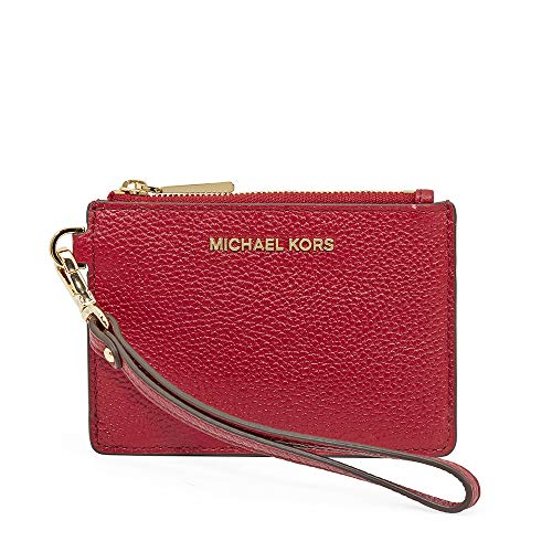 Michael Kors Small Mercer Pebbled Leather Coin Case- Maroon