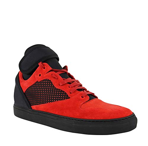 Balenciaga High Top Black/Red Suede Leather Sneakers