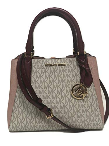 MICHAEL Michael Kors Kimberly Small Satchel MK Signature Crossbody Bag - Vanilla/Pastel Pink
