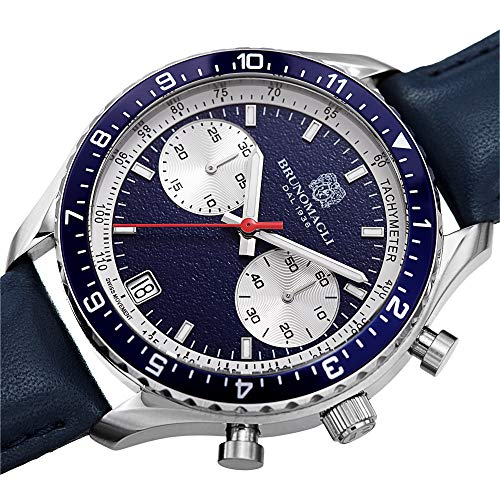Bruno Magli Men's Marco 1081 Swiss Quartz Blue Dial Italian Leather Strap Watch