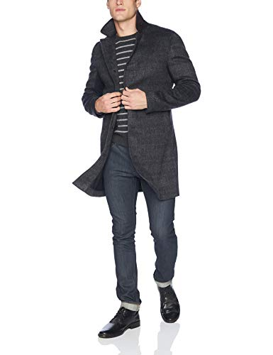 Billy Reid Men's Cashmere Single Breasted Walking Coat with Leather Details, Charcoal, S