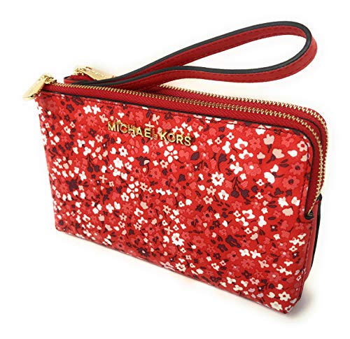 Michael Kors Jet Set Travel Large Double Gusset Wristlet Bag Purse in Foral DK Sangria