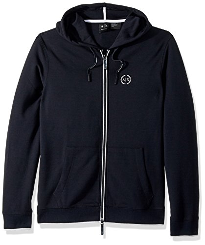 A|X Armani Exchange Men's Basic Zip Up Hoodie with Chest Logo, Navy, XL