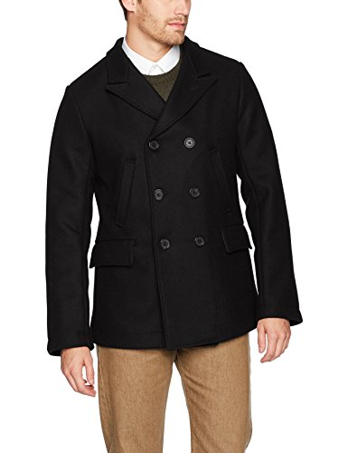 Billy Reid Men's Wool Double Breasted Bond Peacoat with Leather Details, Black, Small