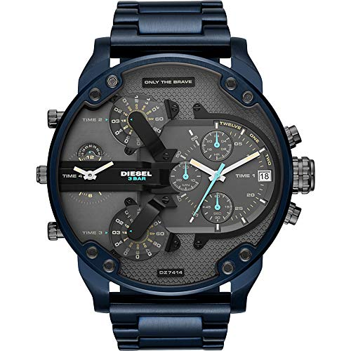 Diesel Men's 'Mr Daddy 2.0' Quartz Stainless-Steel-Plated Watch, Color:Blue (Model: DZ7414)