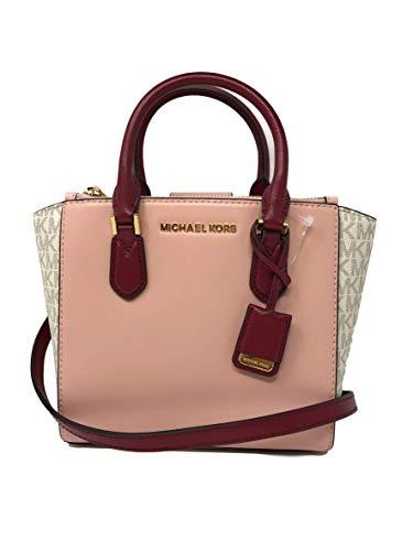 Michael Kors Women's Carolyn Small Leather Tote Crossbody Bag Purse Handbag (Vanilla/Pastel Pink)