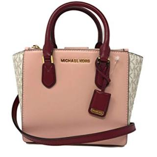 Michael Kors Women's Carolyn Small Leather Tote Crossbody Bag Purse Handbag (Vanilla/Pastel Pink)