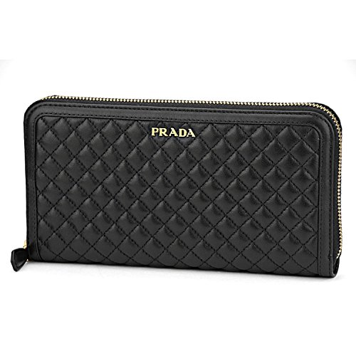 Prada Womens Soft Calf Quilt Leather Wallet Nero (Black)