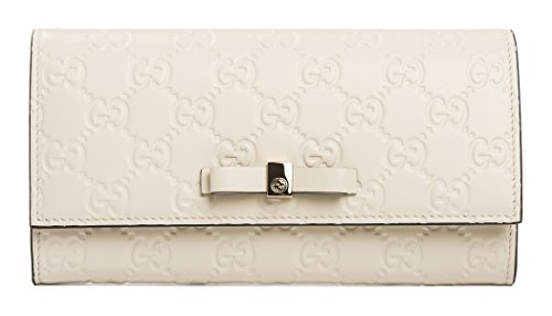Gucci Wallet Bowie Bow White Pearl Flap GG Box Leather