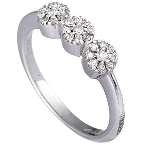 Damiani 18K White Gold Diamond 3 Flower Ring