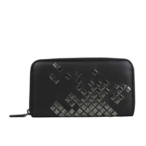Bottega Veneta Women's Zip Around Black Leather Woven Wallet