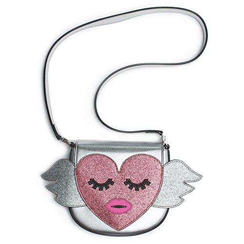 Gucci Kids Metallic Silver Heart Wing Authentic New Bag