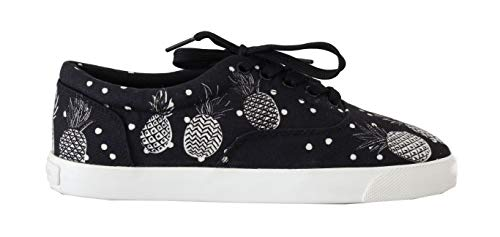 Dolce & Gabbana Black White Pineapple Canvas Sneakers