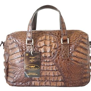 Authentic M Crocodile Skin Womens W/Strap Zipper Tote Bag