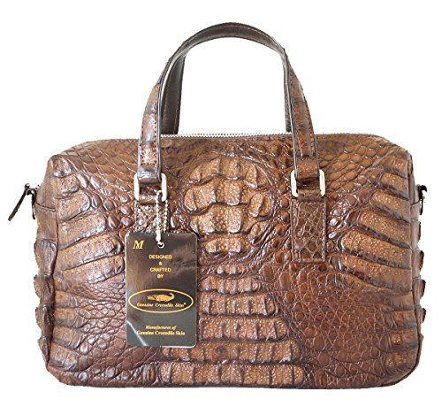 Authentic M Crocodile Skin Womens W/Strap Zipper Tote Bag