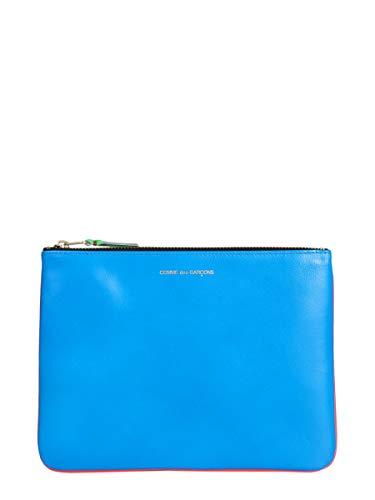 Comme Des Garçons Women's Blue Leather Clutch