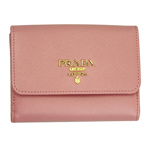 Prada Pink Saffiano Leather Bi-fold Wallet Quarzo Mordore