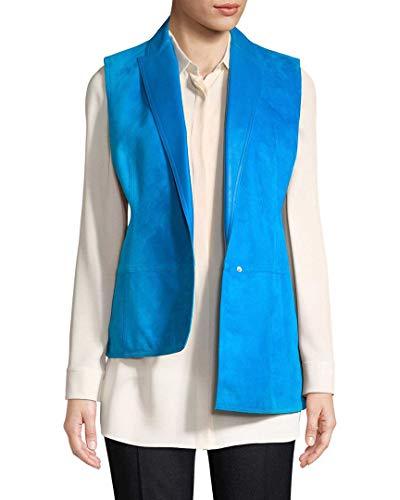 Akris Womens Cocoon Suede Vest, 2 Blue