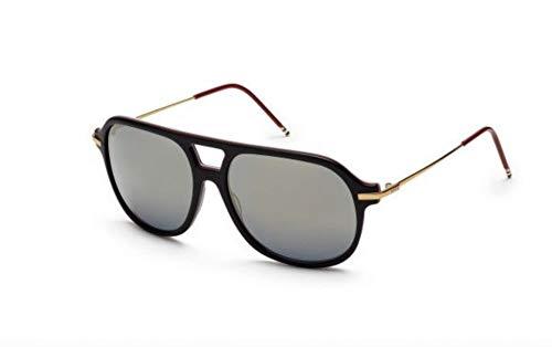 THOM BROWNE Sunglasses Matte Black-18K Gold/D.Grey-Gold Flash-AR 59mm
