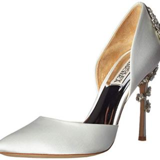 Badgley Mischka Women's Vogue Pump, Soft White Satin, 10 M US