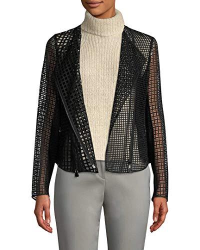 Akris Womens Warrek Net Moto Jacket, 12 Black