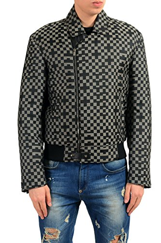 Versace Men's Leather Trimmed Checkerboard Insulated Full Zip Jacket