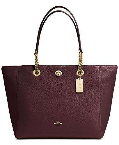 COACH Women's Pebbled Turnlock Chain Tote LI/Oxblood Handbag