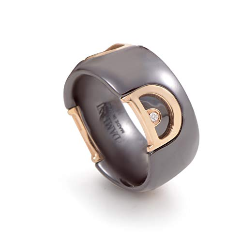 Damiani D.Icon 18K Rose Gold Black Ceramic Diamond Band Ring
