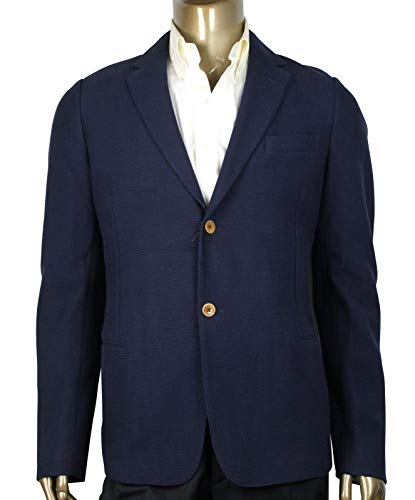 Gucci Men's Formal Blue Cotton Polyester Structured Jersey 2 Buttons Jacket