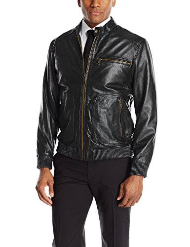 Andrew Marc Men's Leather Bomber Jacket, Black, Large