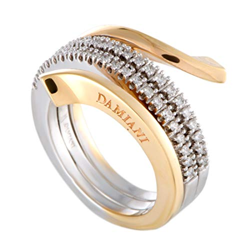 Damiani Eden 18K White and Rose Gold Diamond 3-Coil Spiral Ring