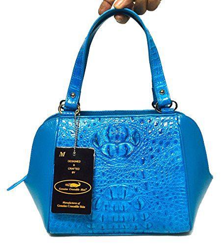 Authentic M Crocodile Skin Womens Head Leather Blue