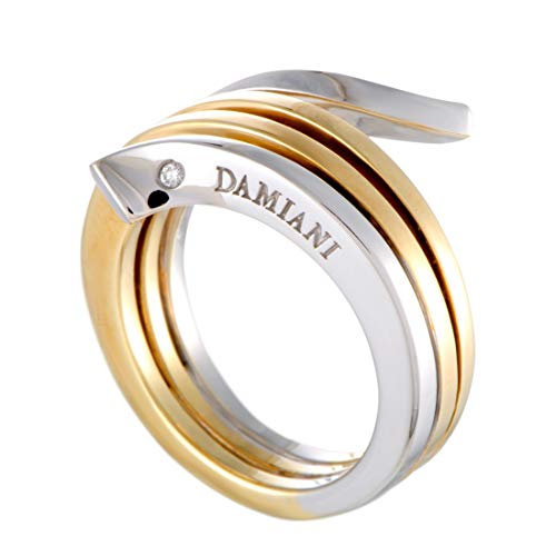 Damiani Eden 18K Yellow and White Gold Diamond 3-Coil Spiral Ring