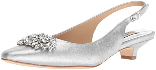 Badgley Mischka Women's Page II Pump, Silver/Metallic Suede