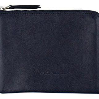 SALVATORE FERRAGAMO Blue Leather Zippered Passport Holder Pouch
