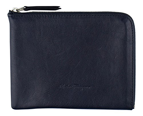 SALVATORE FERRAGAMO Blue Leather Zippered Passport Holder Pouch