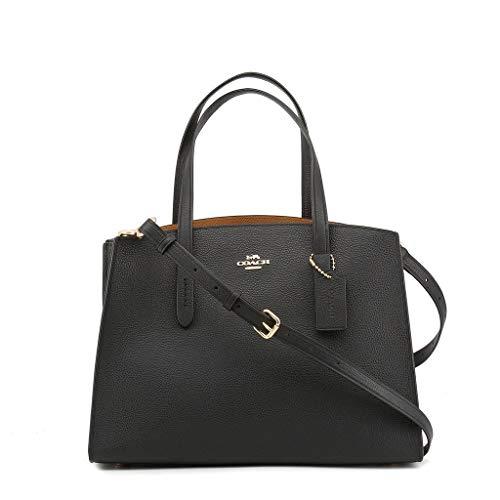 COACH Women's Polished Pebble Leather Charlie Carryall Li/Black One Size