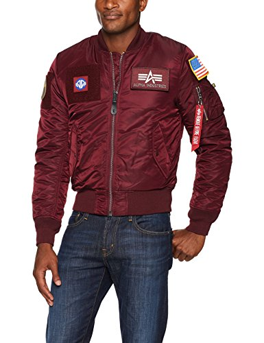 Alpha Industries Men's MA-1 Flex Slim FIT, Maroon, Large