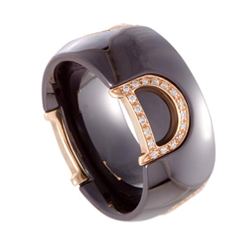Damiani D.Icon 18K Rose Gold Diamonds and Brown Ceramic Band Ring
